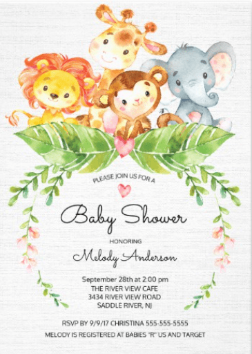 Baby shower Invitation- Safari Theme