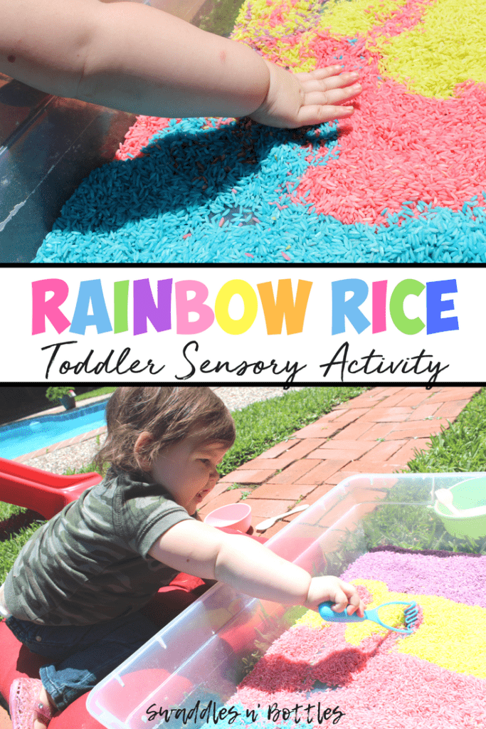 RAINBOW RICE- an easy and cheap sensory activity for toddlers and kids, indoor and outdoor!