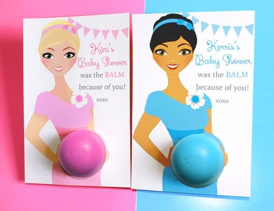 Baby shower favors- EOS lip balm as the baby belly! So cute!