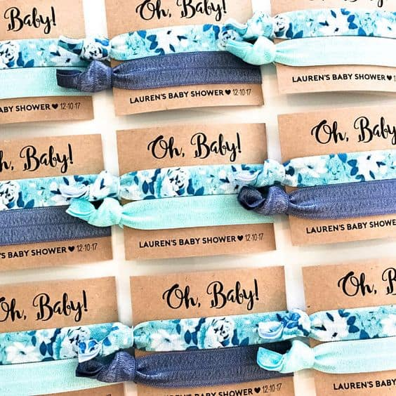 Hair ties for a baby shower favor. Woman always need more of those!