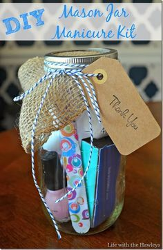 Mason jar Manicure set- a great thank you gift for you baby shower guests!