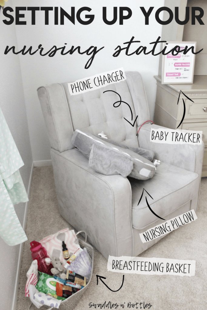 Setting up your nursing station. What you need within arms reach when breastfeeding to make things stress-free and successful. Includes a free printable baby tracker.