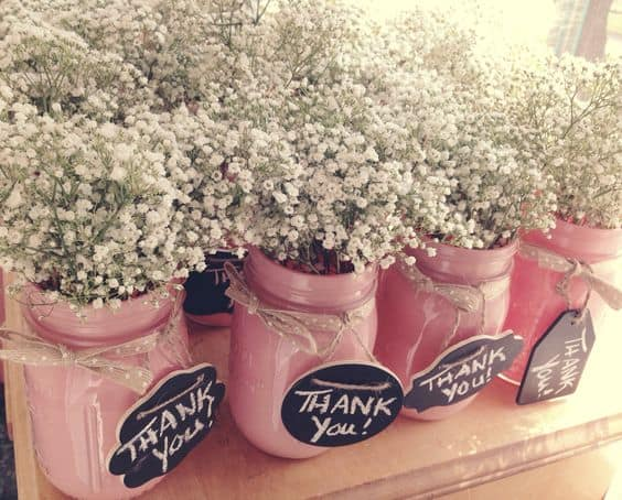 Baby Shower Thank You gifts- a simple DIY project- mason jar, twine, baby's breath and a thank you tag!