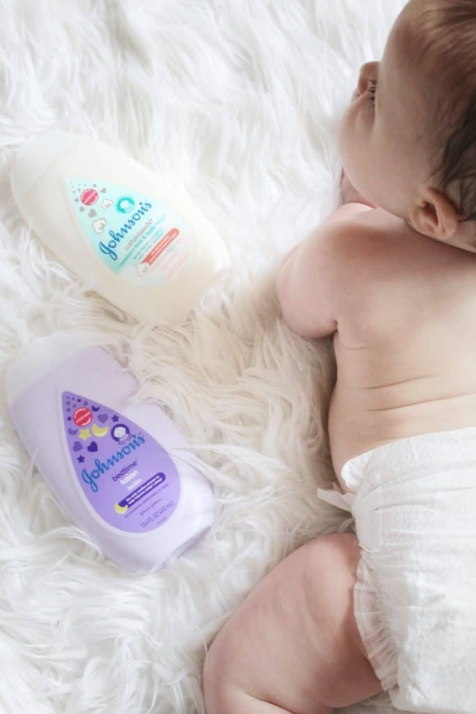 Johnson's Baby bed time routine with calming lotion and new Cotton Touch lotion for baby