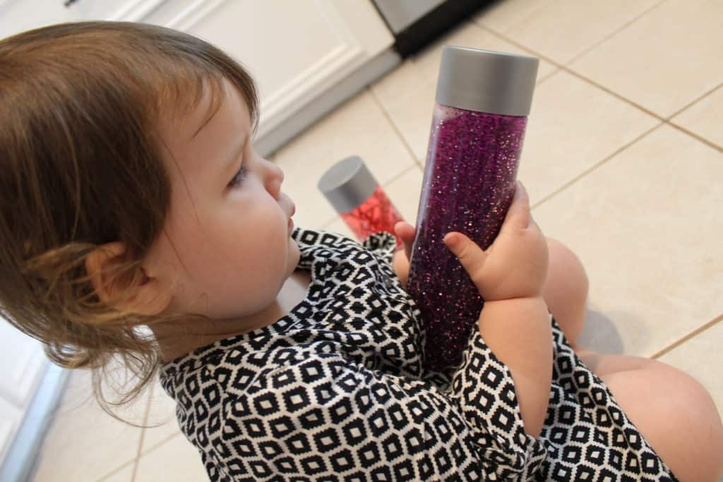 Our toddler loves her sensory bottles and searching for the items inside!