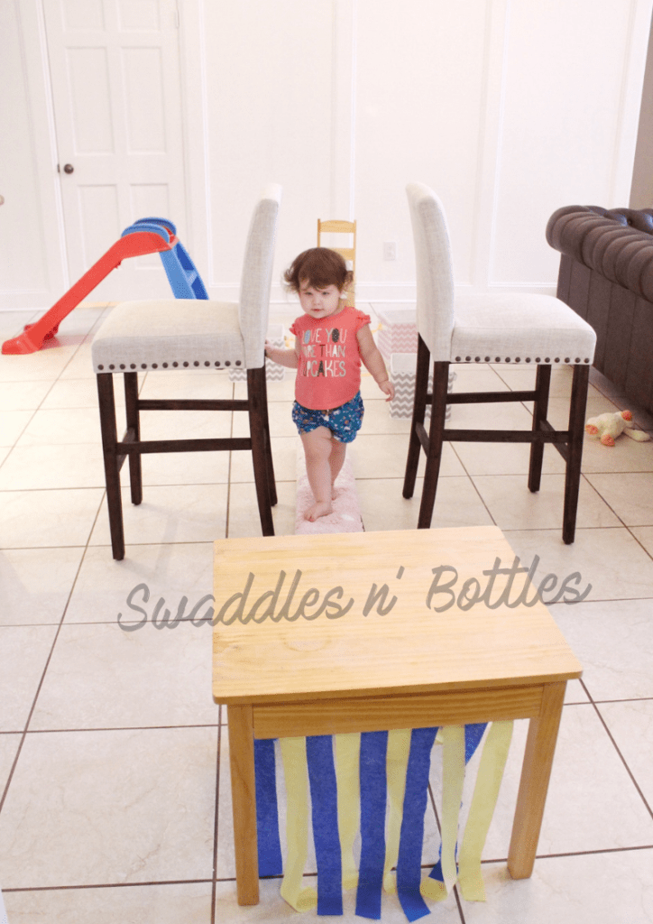 obstacle course for toddlers. Great Indoor activity for rainy or snowy days!