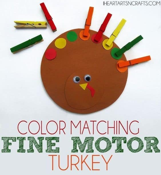 Color matching Turkey Activity for Toddlers. Meat Thanksgiving activity for kids!