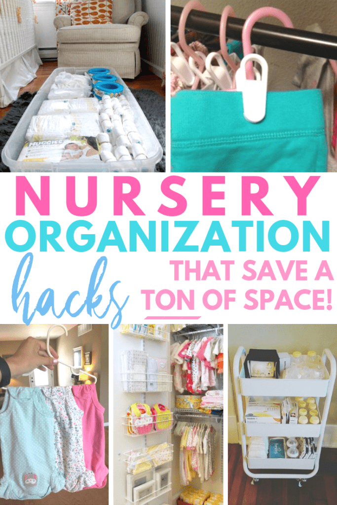 Nursery Organization hacks that save a ton of space. Perfect read for the nesting mama who needs to get baby's room ready!