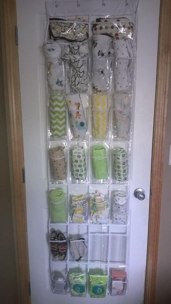 Nursery hack- shoe organizer as blanket storage