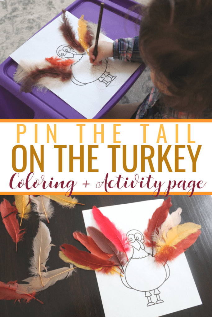 Pin the Tail on the Turkey. A Thanksgiving activity and coloring page for toddlers and kids. Free Thanksgiving Printable!