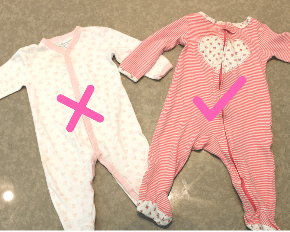Zip up sleeper versus button up- Mom Hacks every new mom should know to make life with littles easier!