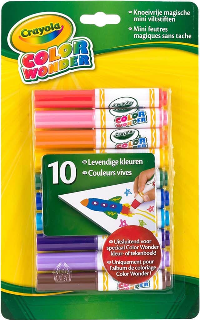 Color Wonder Makers. Coming from a mother who has scrubbed her fair share of markers off of the wall, I'm here to tell you you will not regret buying these! They only work on color wonder paper! Meaning no scrubbing marker off of furniture, walls or other children.