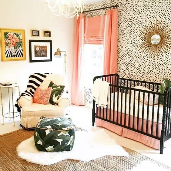 Dalmation print wallpaper for a bold and bright baby girl nursery