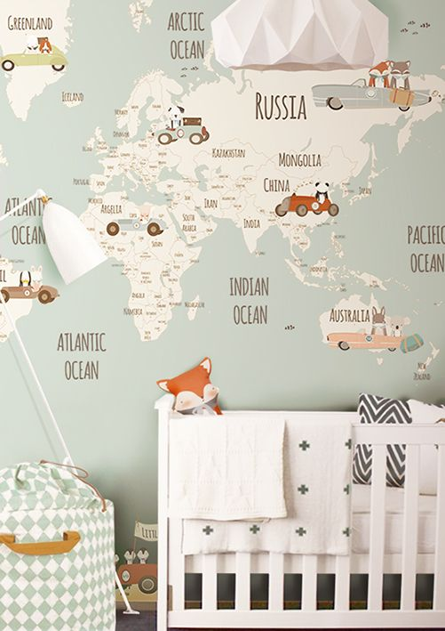 Map of worls wallpaper for baby nursery