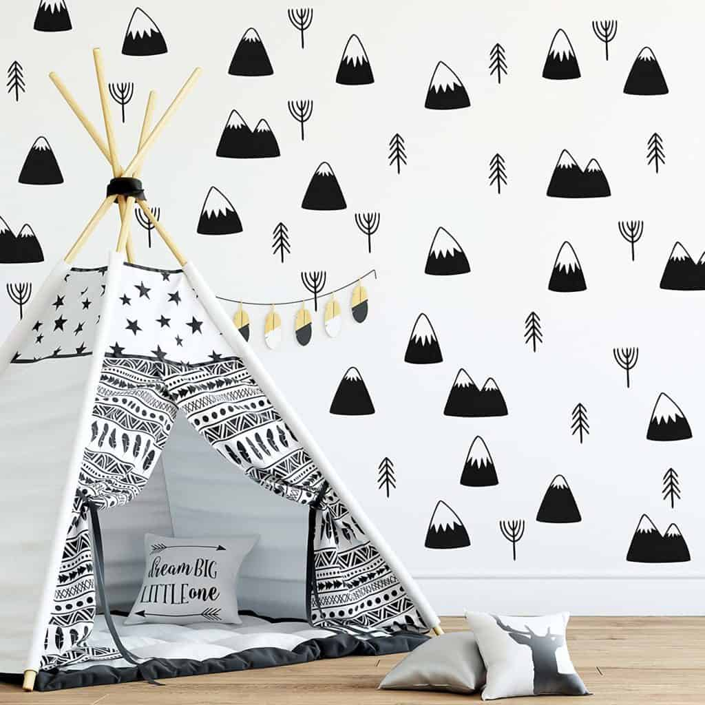 Mountain and tree decals for boho design nursery