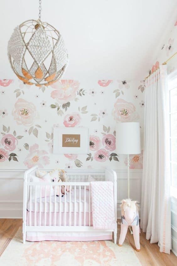 Watercolor floral nursery for baby girl