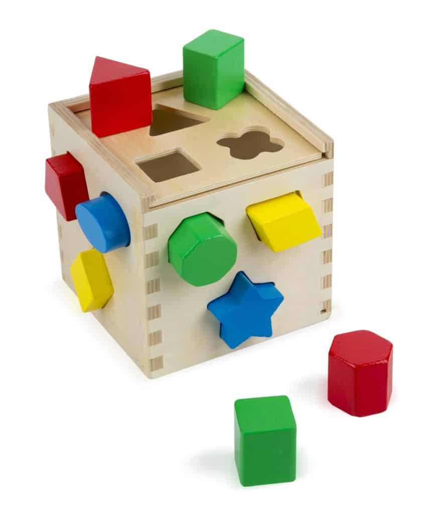 Wooden Shape Sorter from Melissa and Doug. Shape sorting toys are a huge hit in our house. They are a great way to work baby's brain in a fun and entertaining way.
