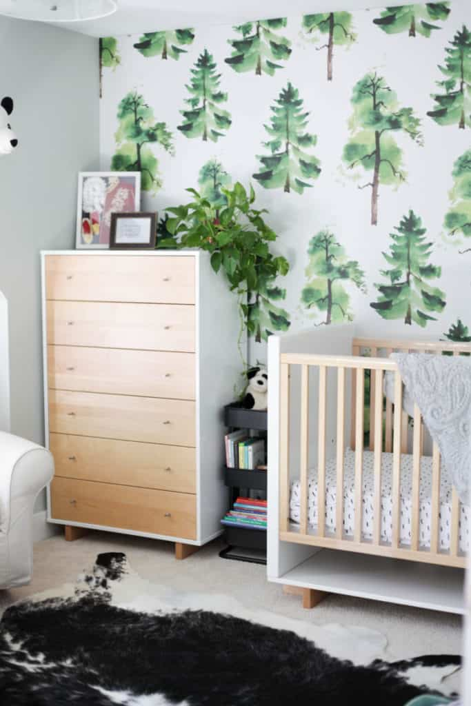 Woodland and greenery themed nursery wallpaper