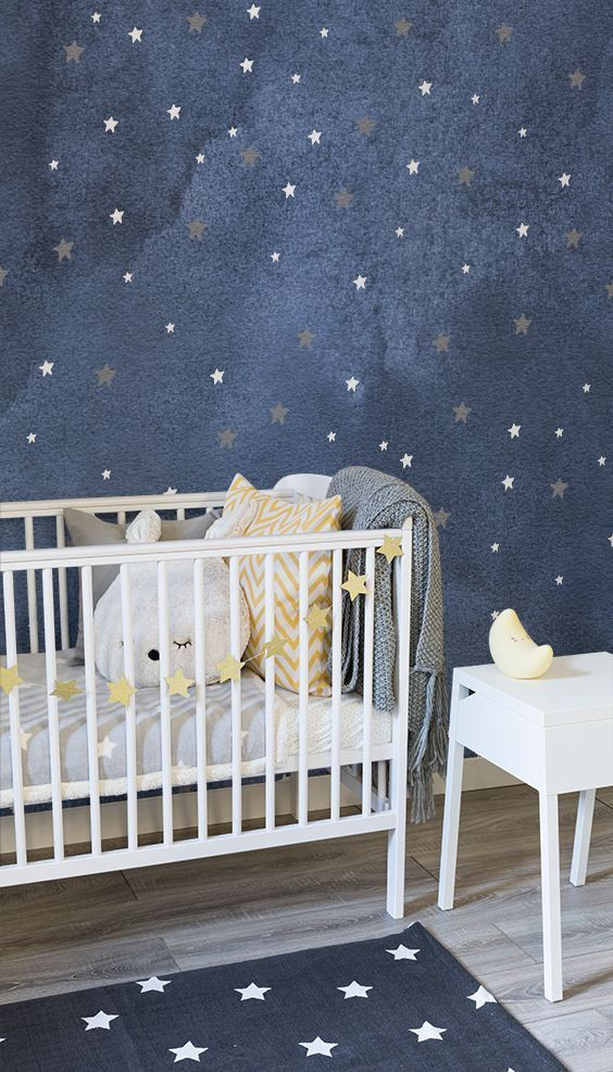 navy stars wallpaper for baby nursery