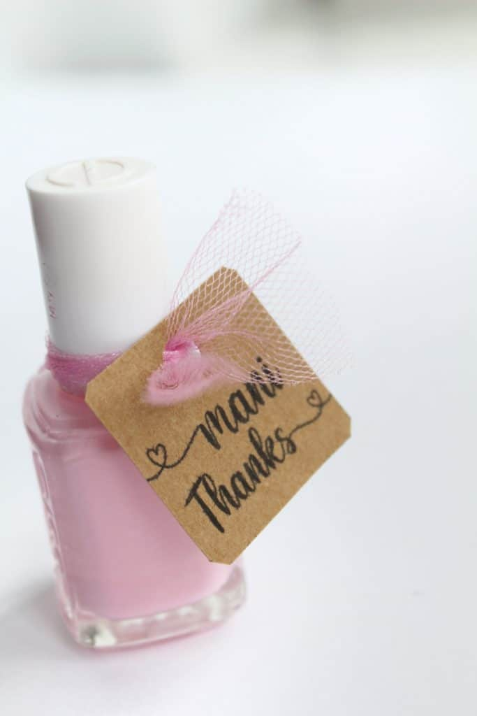 nail polish thank you tags for baby shower and wedding shower