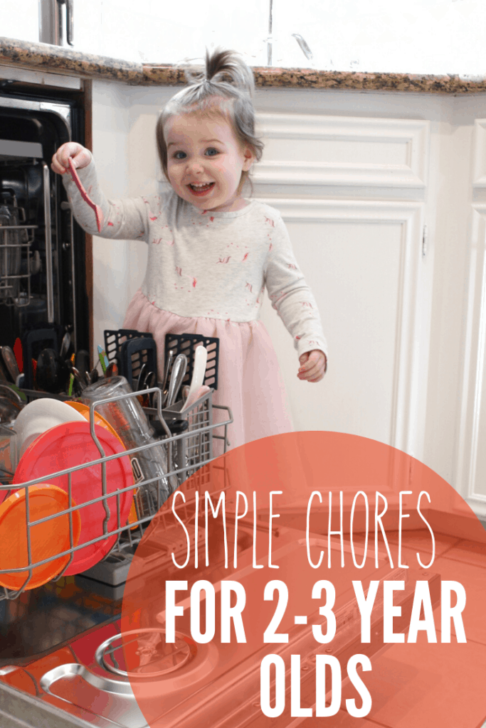 5 chores your 2-3 year old can do, not only to help out around the house, but to help foster their independence and teach them responsibility. These will help them build essential life skills. Chore chart included!